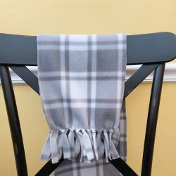tied fleece scarf, gray plaid fleece scarf, black farmhouse style kitchen chair, metal dining chair, yellow kitchen wall, white kitchen chair rail, diy no sew fleece scarf