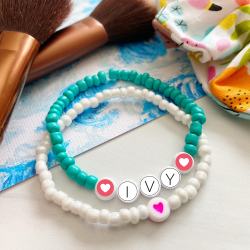 Beaded Alphabet Name Bracelets, kids crafts, easy crafts, diy craft idea, makeup brush, fabric scrunchie, turquoise bead bracelet, ivy name bracelet, heart beads, white coral bead bracelet