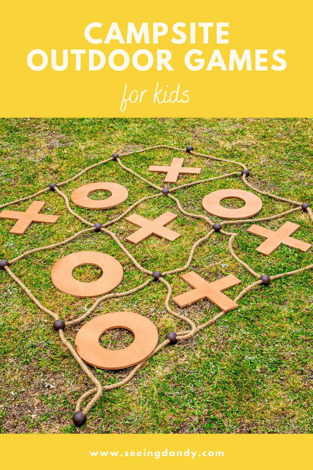 campsite outdoor games for kids, tic tac toe rope yard game, oversized tic tac toe, camping, family travel, family fun, family activities, lawn games