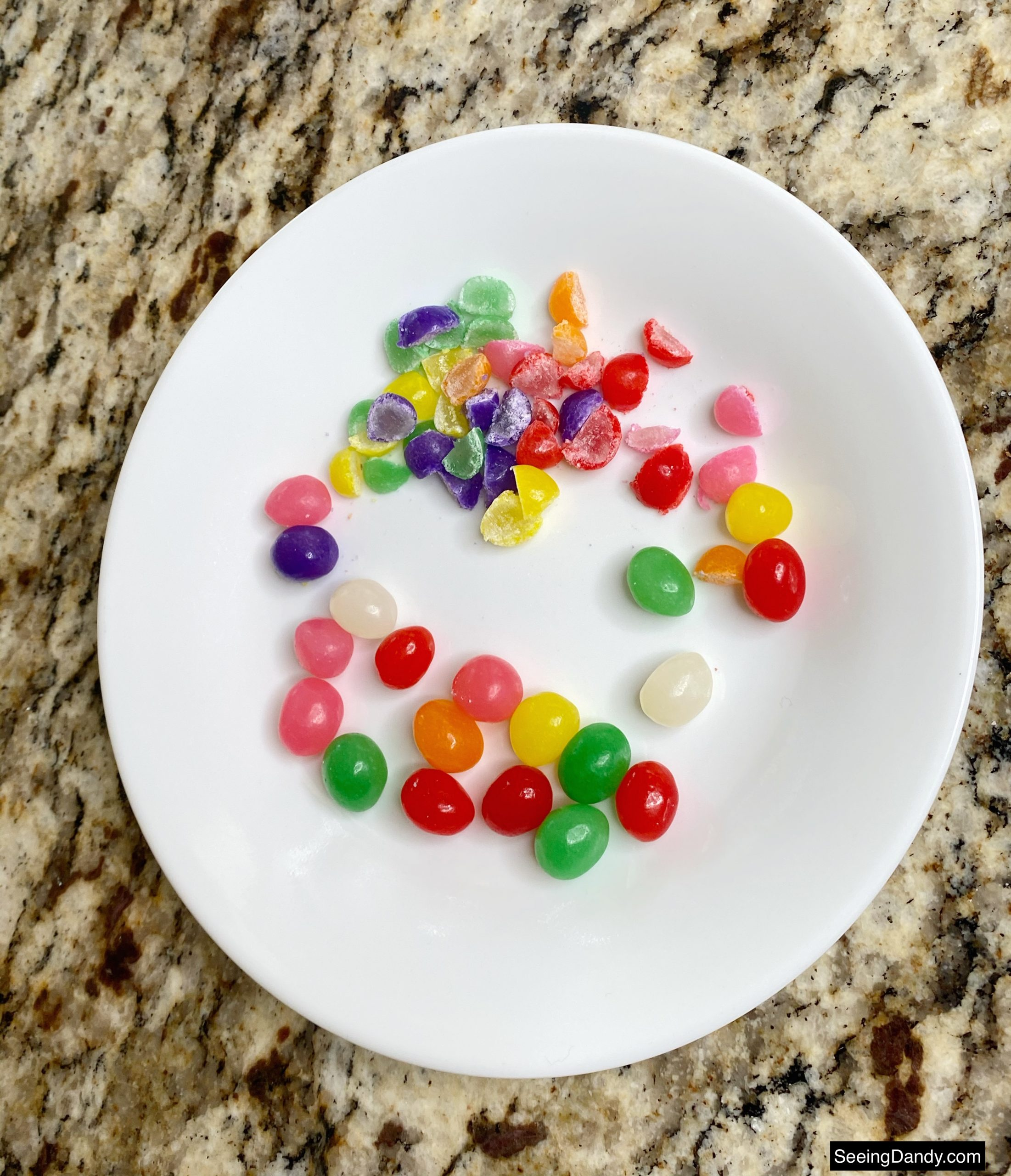 brachs jelly beans, granite countertop, brachs easter candy, white dessert plate
