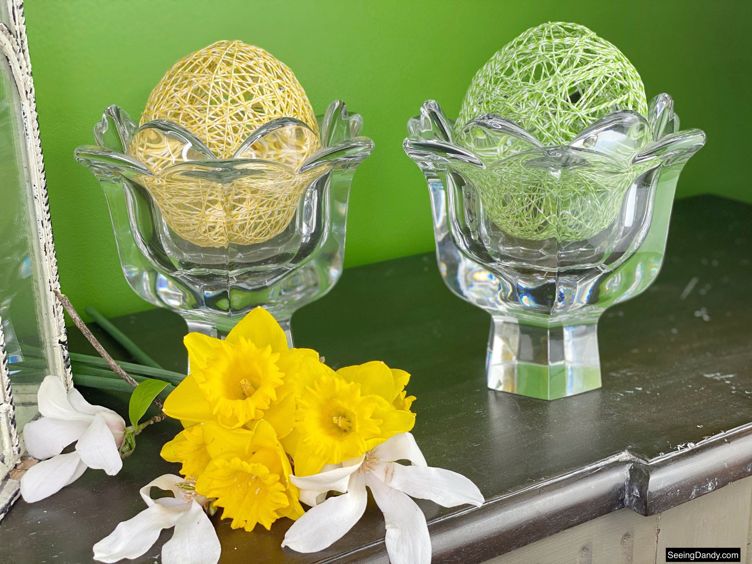 bakers twine easter eggs, string balloon egg, springtime, spring decor, easter decorations, farmhouse style, floral tree branch, spring flowers, yellow daffodils, crystal tulip candy dish, yellow string egg, green string egg