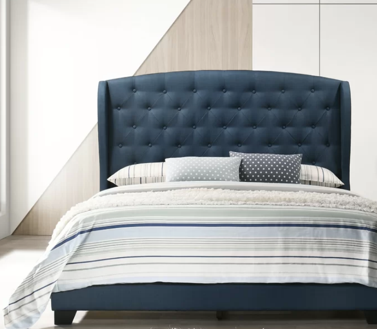 Rhode Tufted Upholstered Low Profile Standard Bed, blue tufted bed