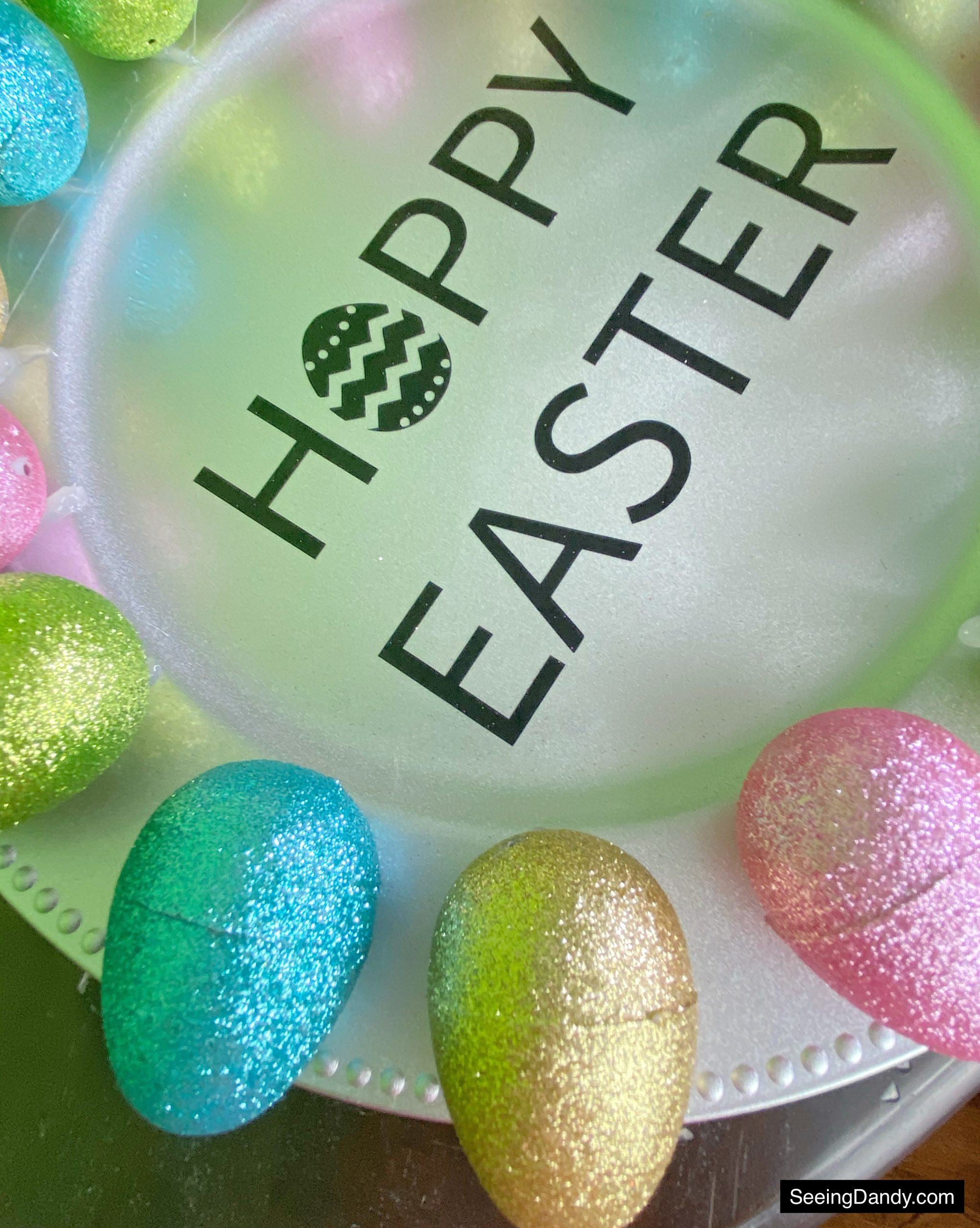 vinyl silhouette svg file, silver plastic charger plate, hoppy easter svg file, dollar tree craft, happy easter svg file, dollar tree giltter easter eggs