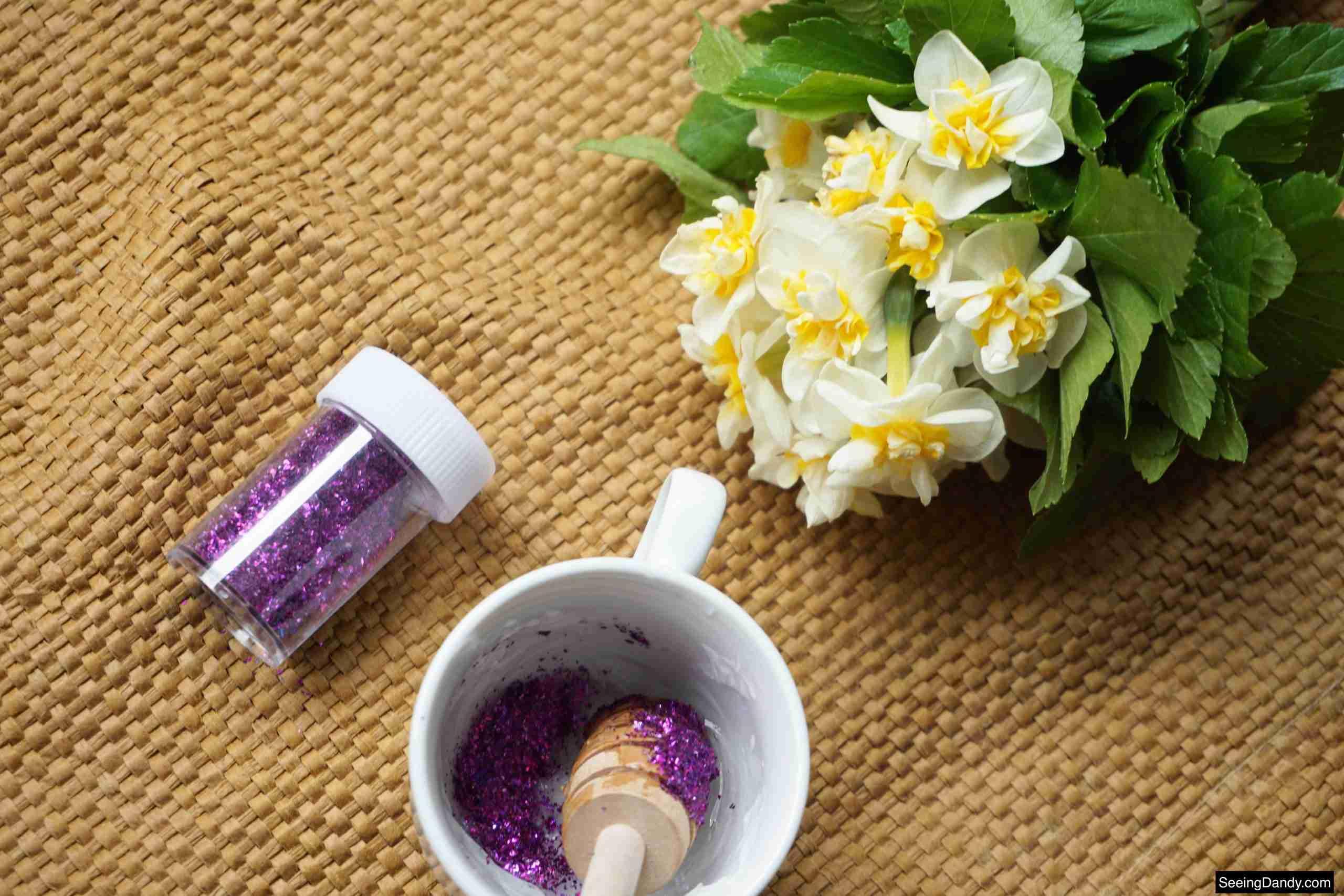honey dipper stick, jute rug, white tea cup, purple glitter, body glitter recipe