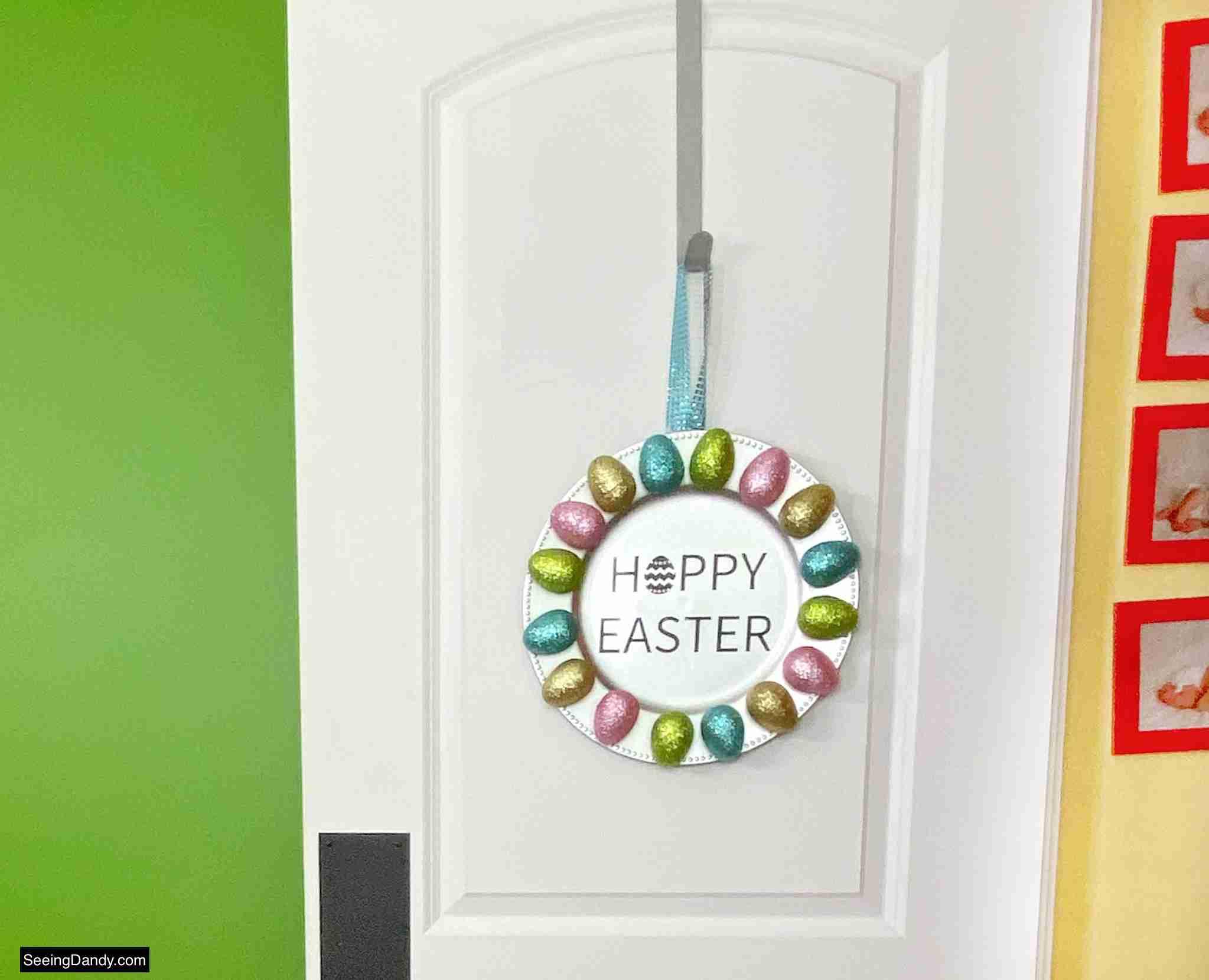 glitter easter egg wreath, easter decor, dollar tree craft, easter decorations, spring wreath, springtime decor, diy wreath