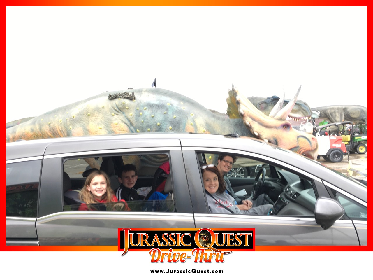 jurassic quest, life size dinosaurs, family fun, st louis activities, drive thru experience, family picture