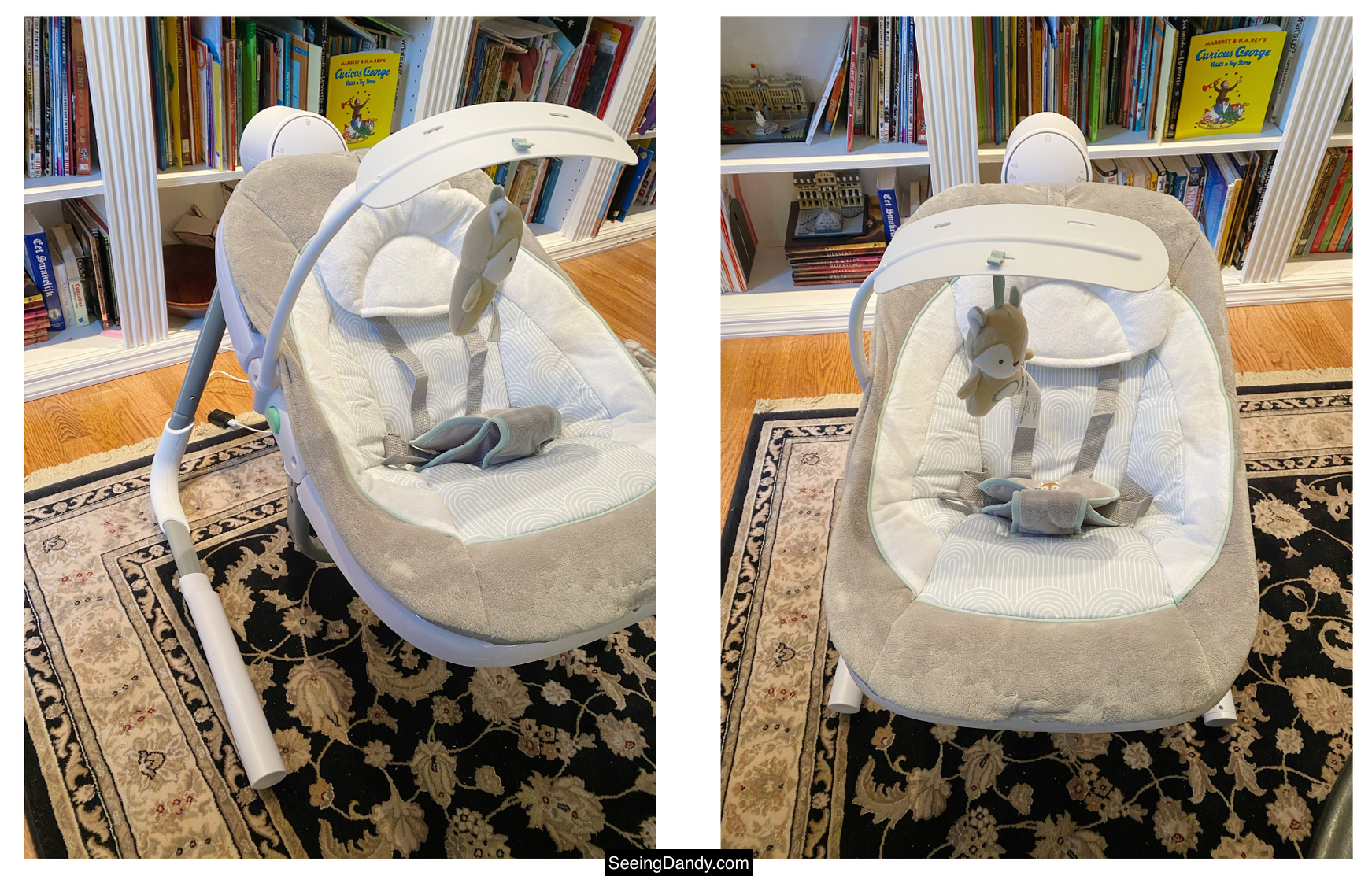 ingenuity baby swing, electric baby swing, infant gear, baby shower gift ideas, anyway sway swing, fox toy, usb swing