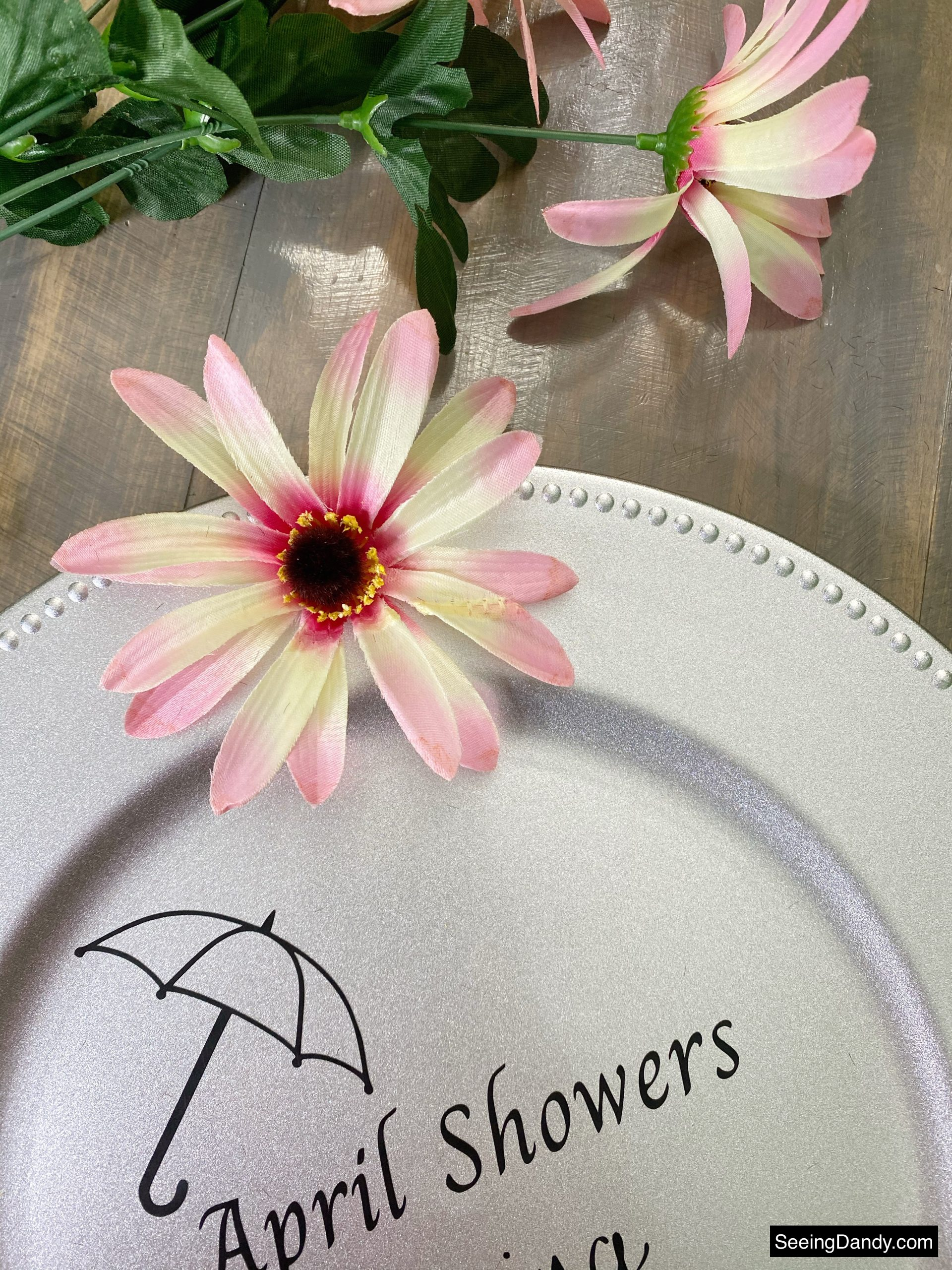 silver dollar tree charger plate craft, pink dollar tree flowers, dollar tree craft, vinyl svg file, free svg file