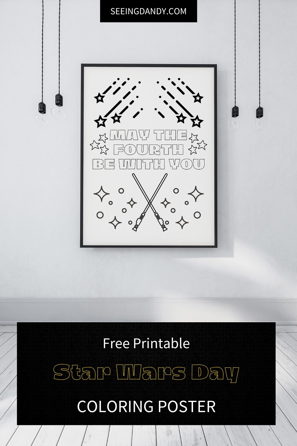 may the fourth be with you, star wars day coloring poster, star wars poster, free printables, coloring sheet, coloring page, star wars room decor