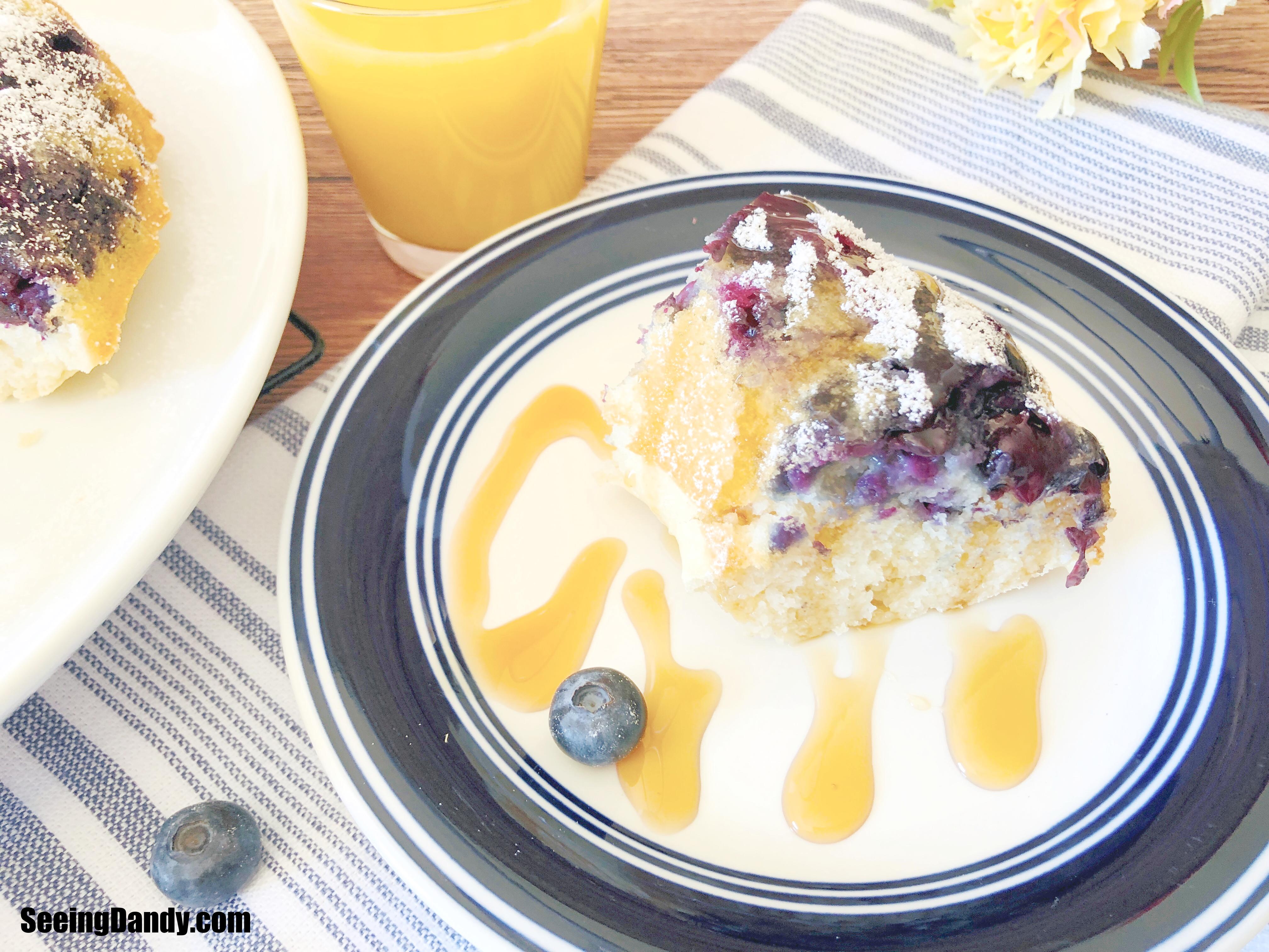 blueberry pancake bundt cake recipe, dessert recipes, mothers day, brunch recipes, cake recipes, bundt cake recipes, farmhouse napkins, farmhouse style dish towel, orange juice, breakfast recipes