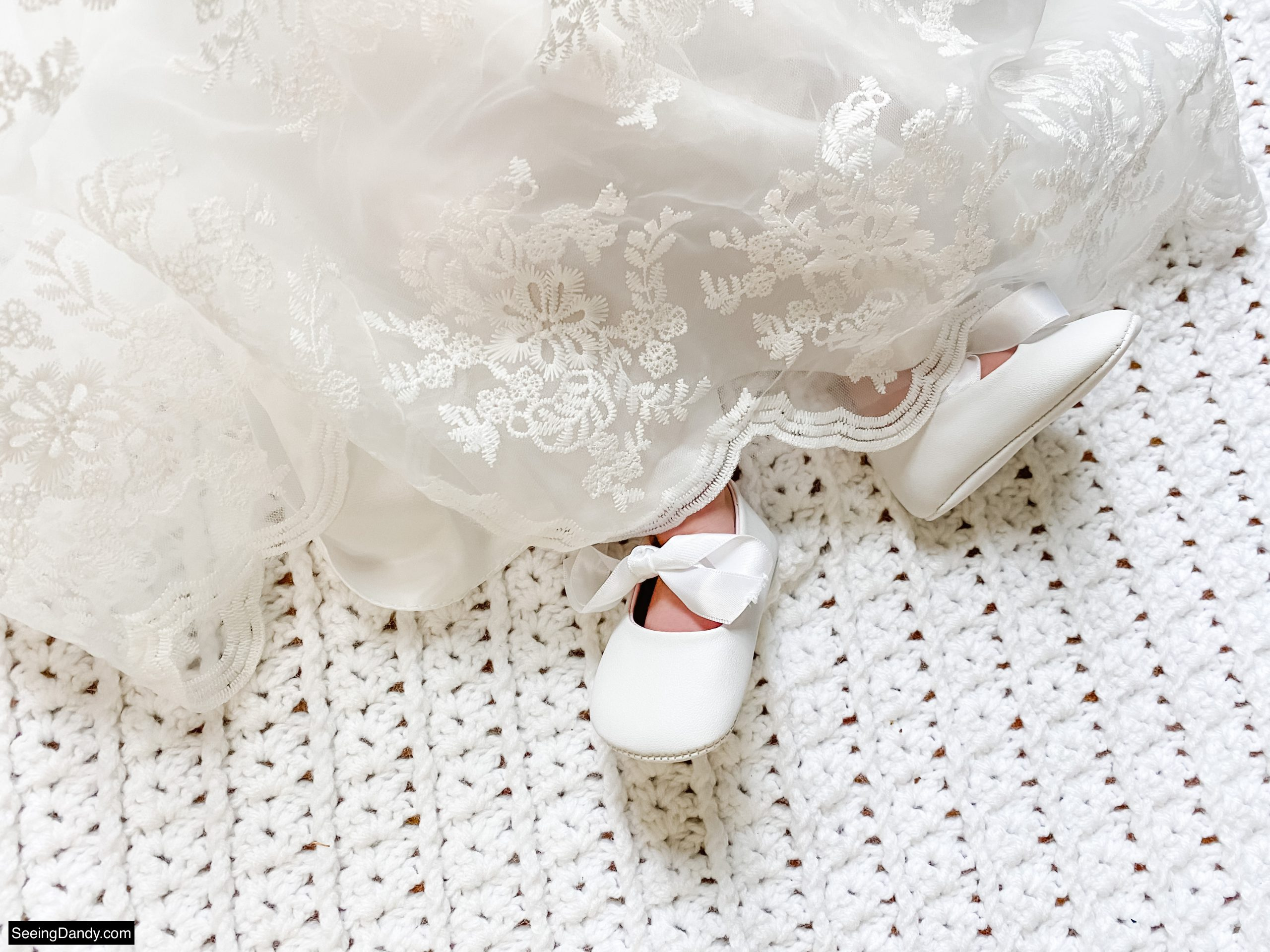 white baby shoes, lace embroidery tulle gown skirt, white crochet blanket, lds blessing day