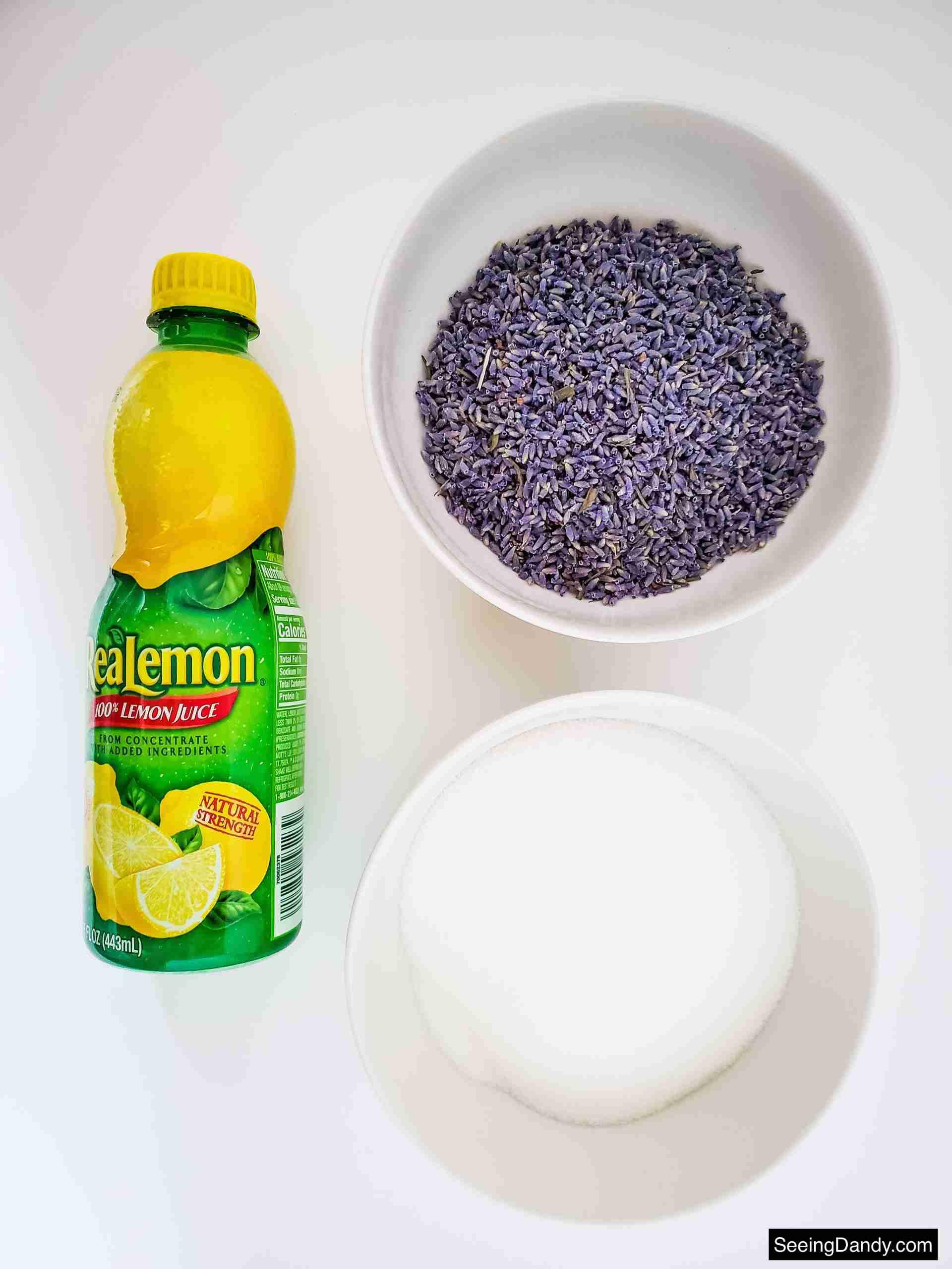 lavender lemonade recipe ingredients, real lemon juice bottle, dried lavender flowers
