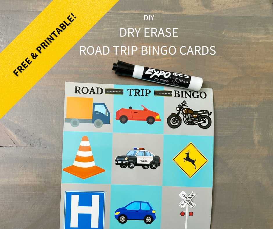 road trip bingo, travel games, road trip, road tripping, family travel, travel with kids, games for kids, family games, board games, dry erase bingo cards, travel bingo, free printable