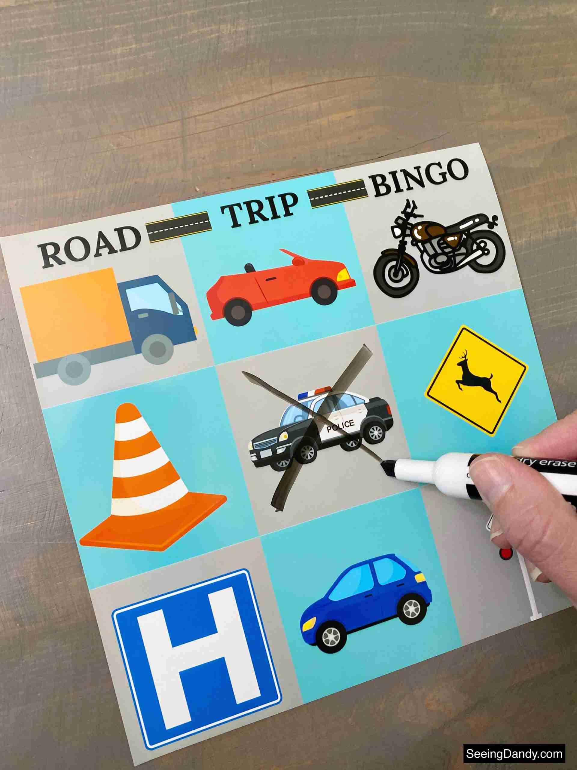 road trip bingo printable, dry erase bingo card, travel bingo, family travel, family vacation, road trip vacation, cross country travel, black expo dry eraser marker