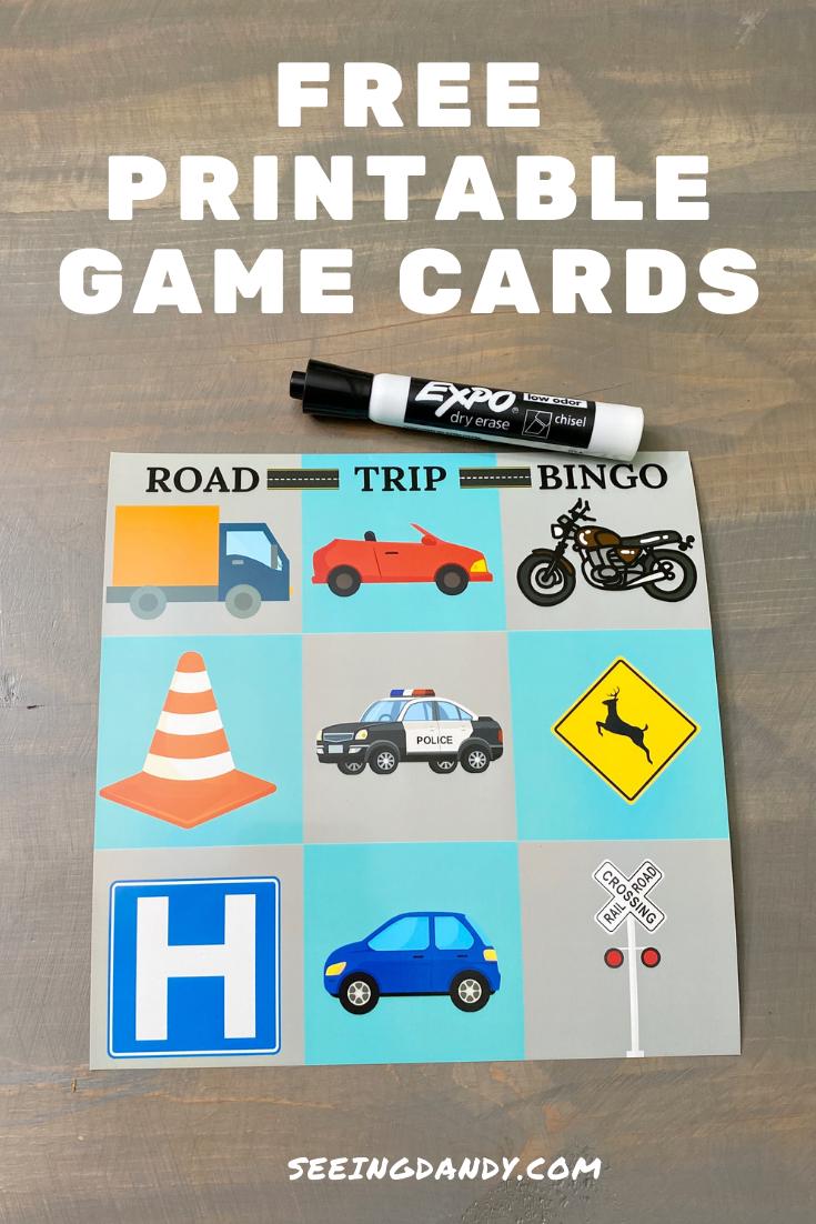 road trip bingo printable, family travel ideas, diy free printables, dry erase road trip bingo cards, bingo game card, expo black dry erase marker