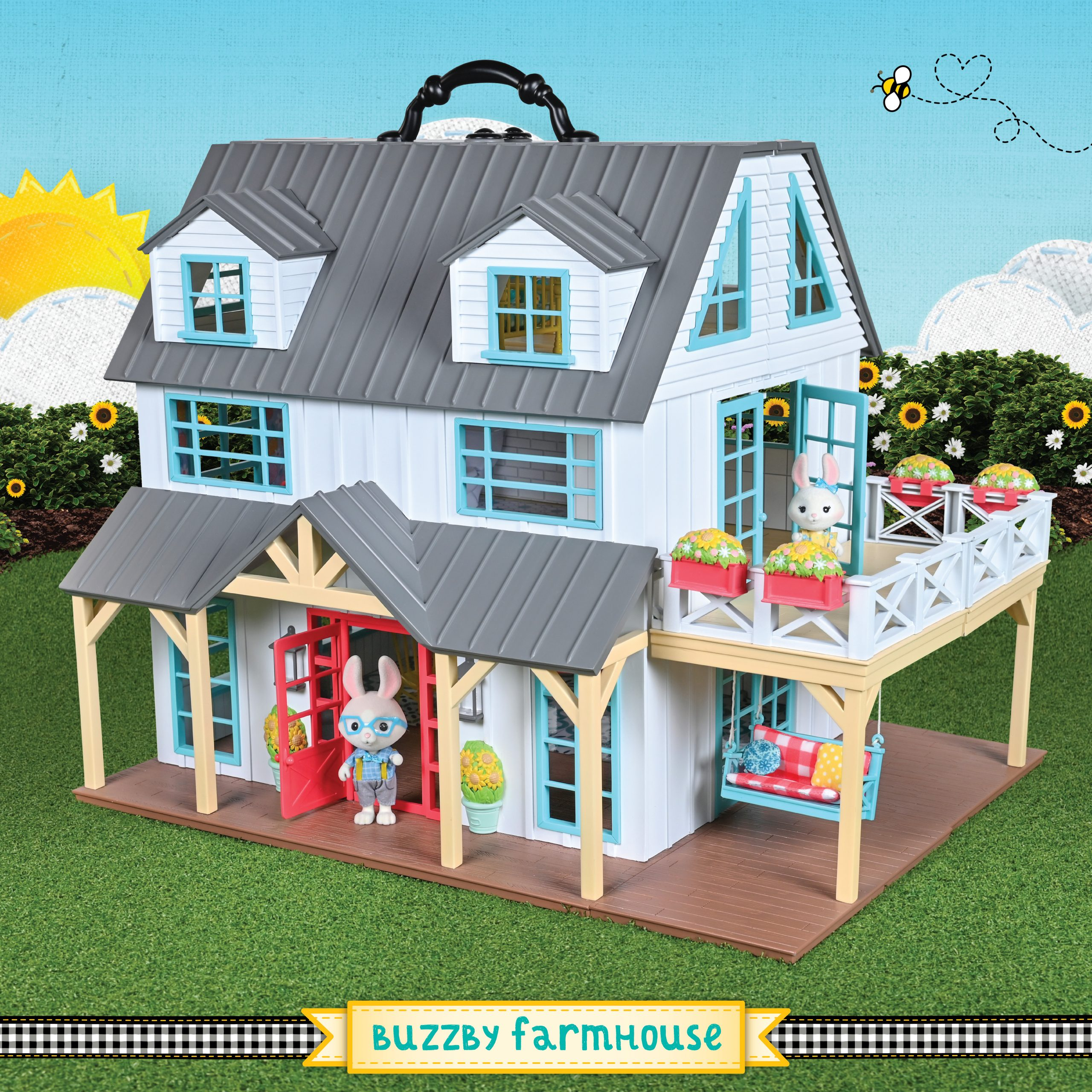 sweet suite at home, honey bee acres buzzby farmhouse, animal playsets, unique dollhouses, walmart exclusive