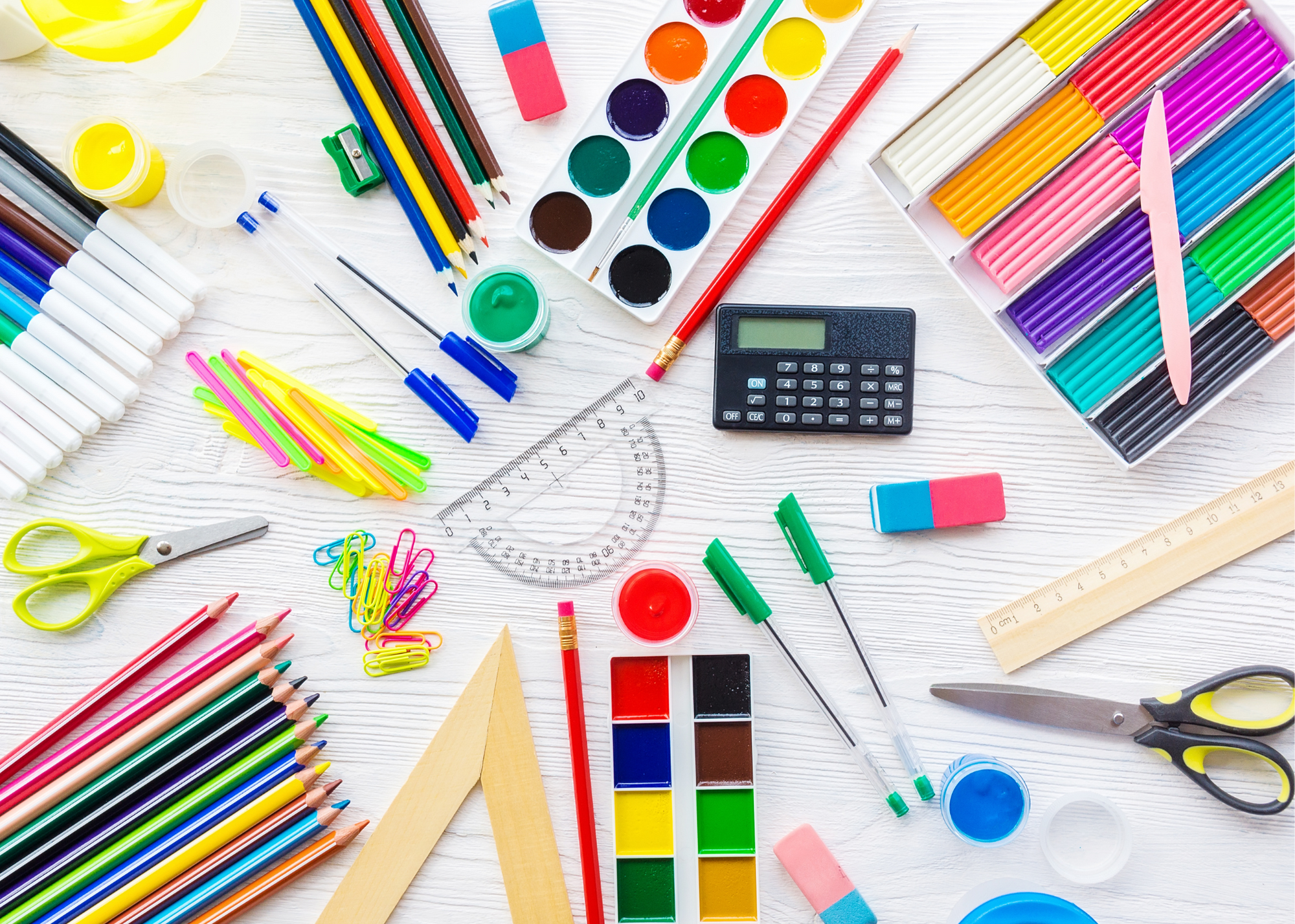 water paint, zulily school supplies, crayons, color pencils, triangle ruler, compass ruler