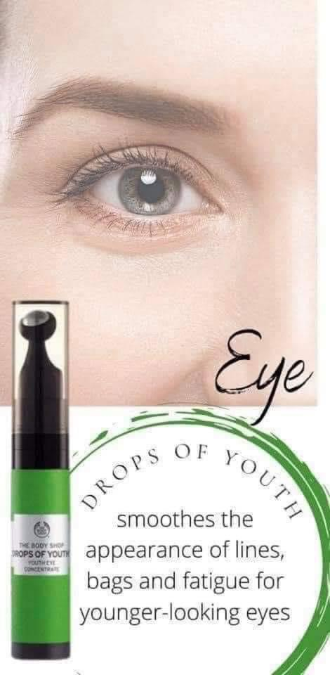 edelweiss plant stem cells, moringa seed oil, fade dark circles, Drops of Youth Eye Concentrate, the body shop