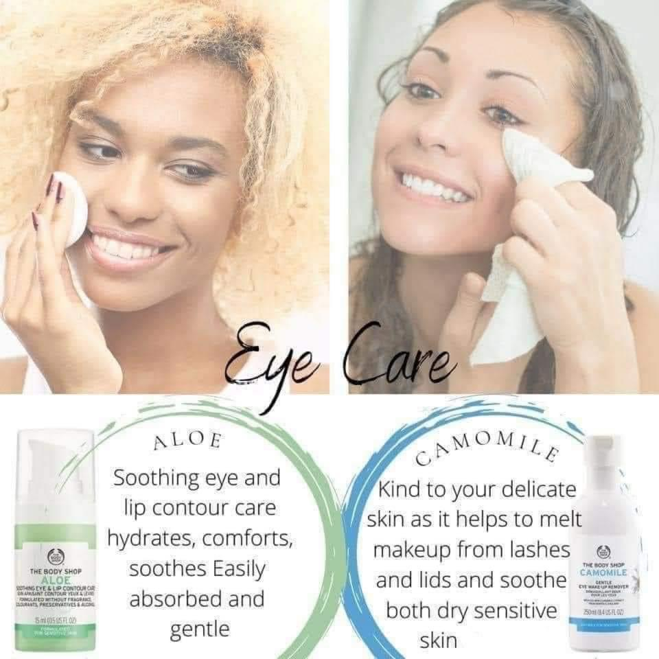Aloe Soothing Eye Lip Contour Care, Camomile Eye Make Up Remover, the body shop