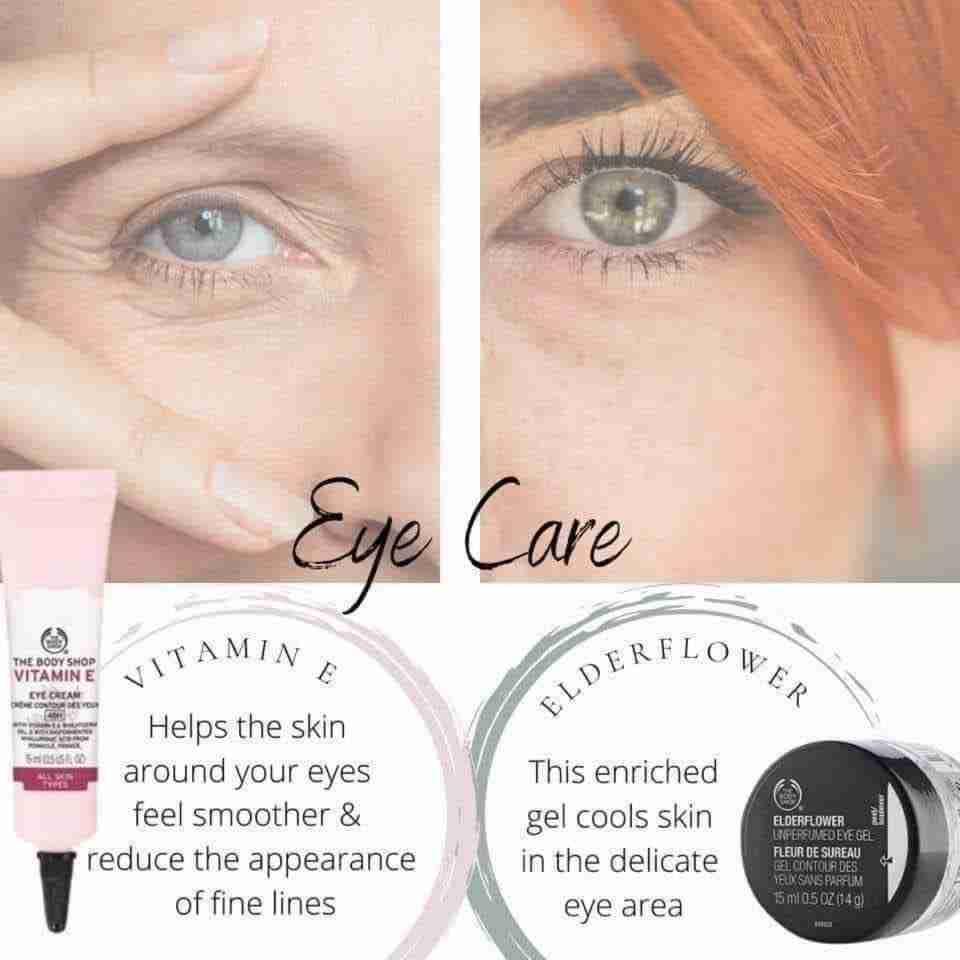 Vitamin E eye cream, Elderflower Unperfumed Eye Gel, the body shop beauty products, skincare, fine lines, delicate eye area