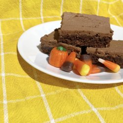 iced chocolate brownies, yellow white checker dish towel, candy corn, fall candy, candy pumpkins, autumn mix candy, delicious desserts, marilees temple brownies, fall desserts, fall recipes, easy recipes