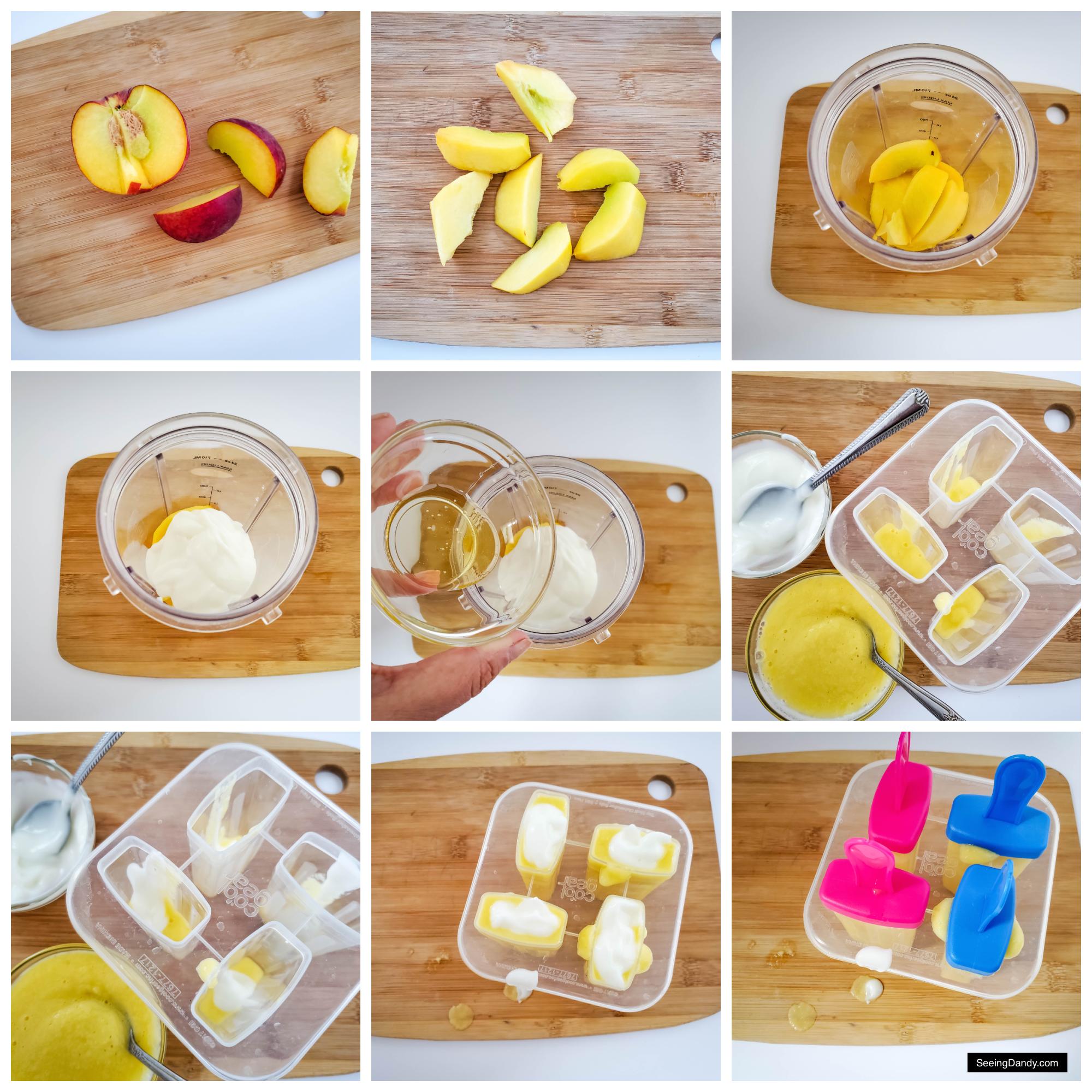 easy recipes, peaches and cream, peach ice cream recipe, popsicle molds, popsicle stick, fresh peaches, wood cutting board, honey recipe