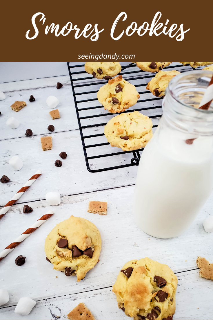 s'mores cookies, mini marshmallows, chocolate chips, small graham crackers, fall recipes, cookie recipes, s'more recipes, farmhouse table, cookie cooling rack, glass milk bottle, brown white stripe paper straws