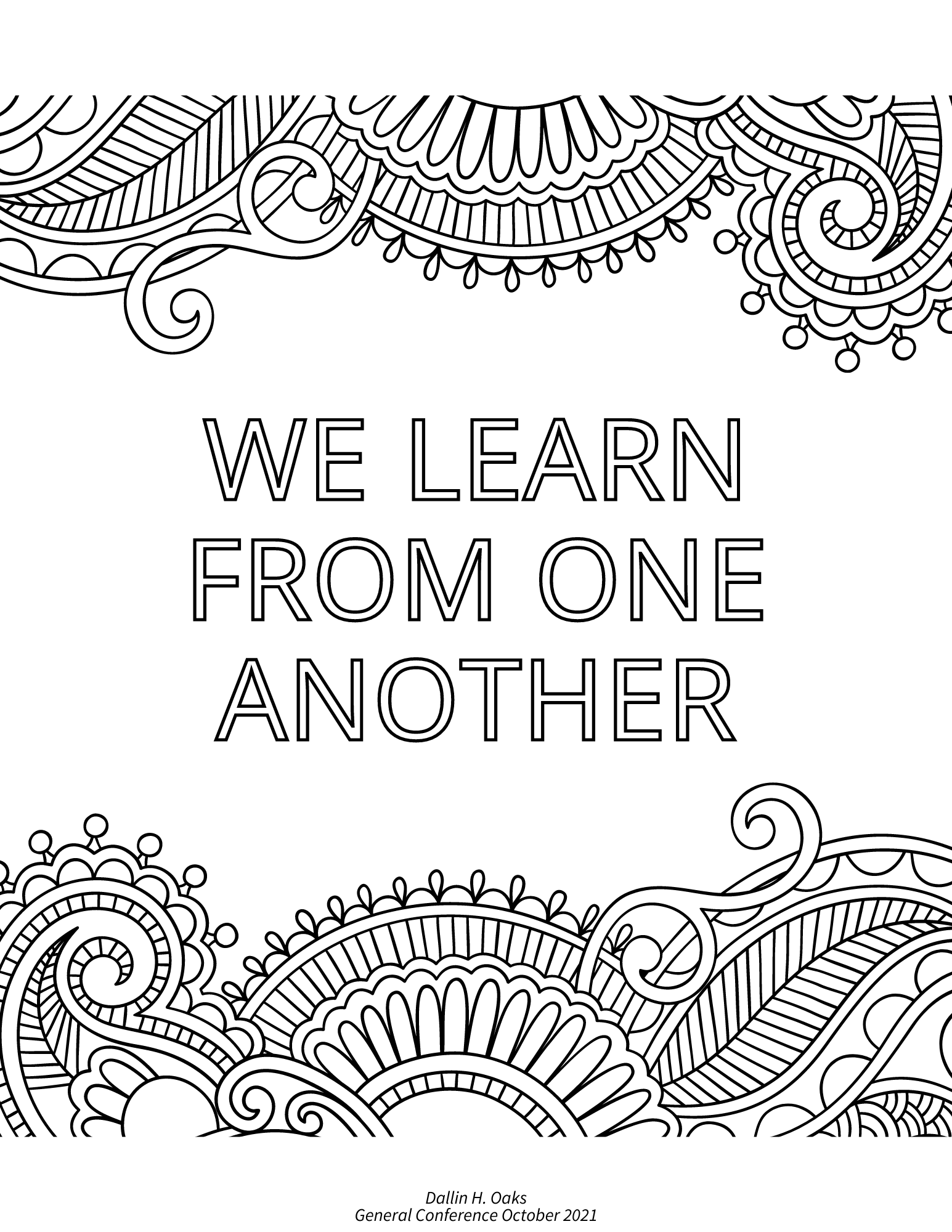 general conference quotes, we learn from one another, dallin h oaks october 2021 general conference quote, free printable coloring page
