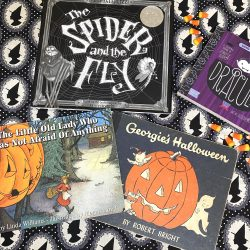 The Little Old Lady Who Was Not Afraid of Anything halloween paperback book, the spider and the fly book, mary howitt poem, tony diterlizzi illustrator, black and white witch fabric, candy corn, halloween books, georgie's halloween book, vintage books, vintage halloween book, babylit dracula book, witch hat fabric witch silhouette fabric, halloween books for kids