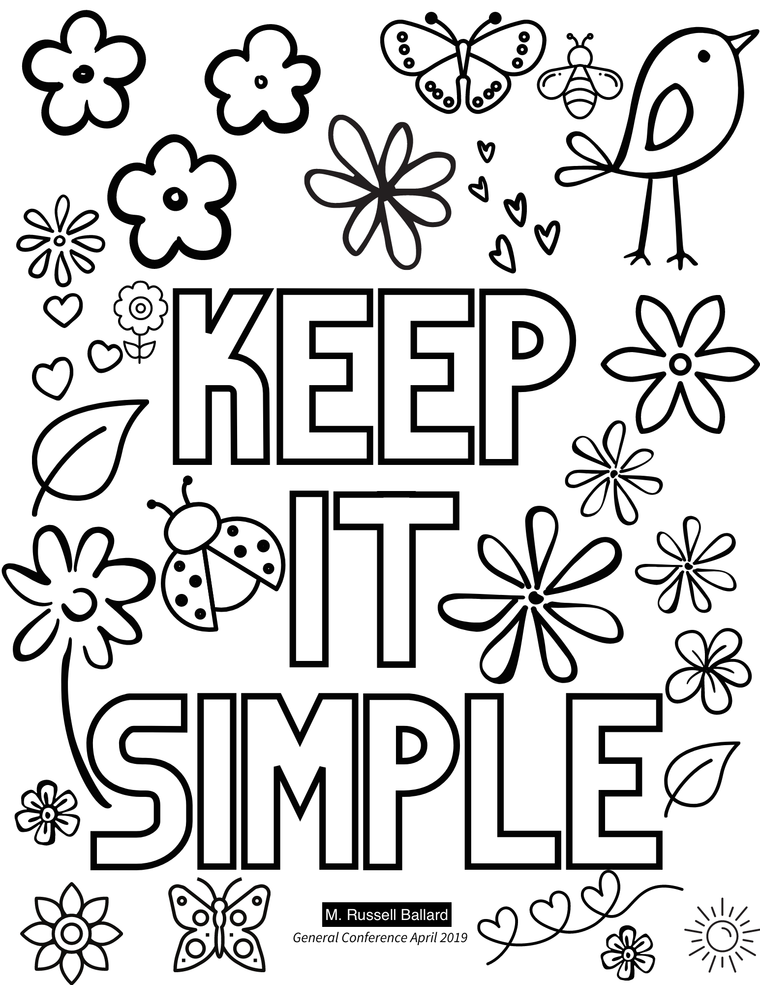 keep it simple m russell ballard general conference quote, general conference coloring sheets, general conference quotes