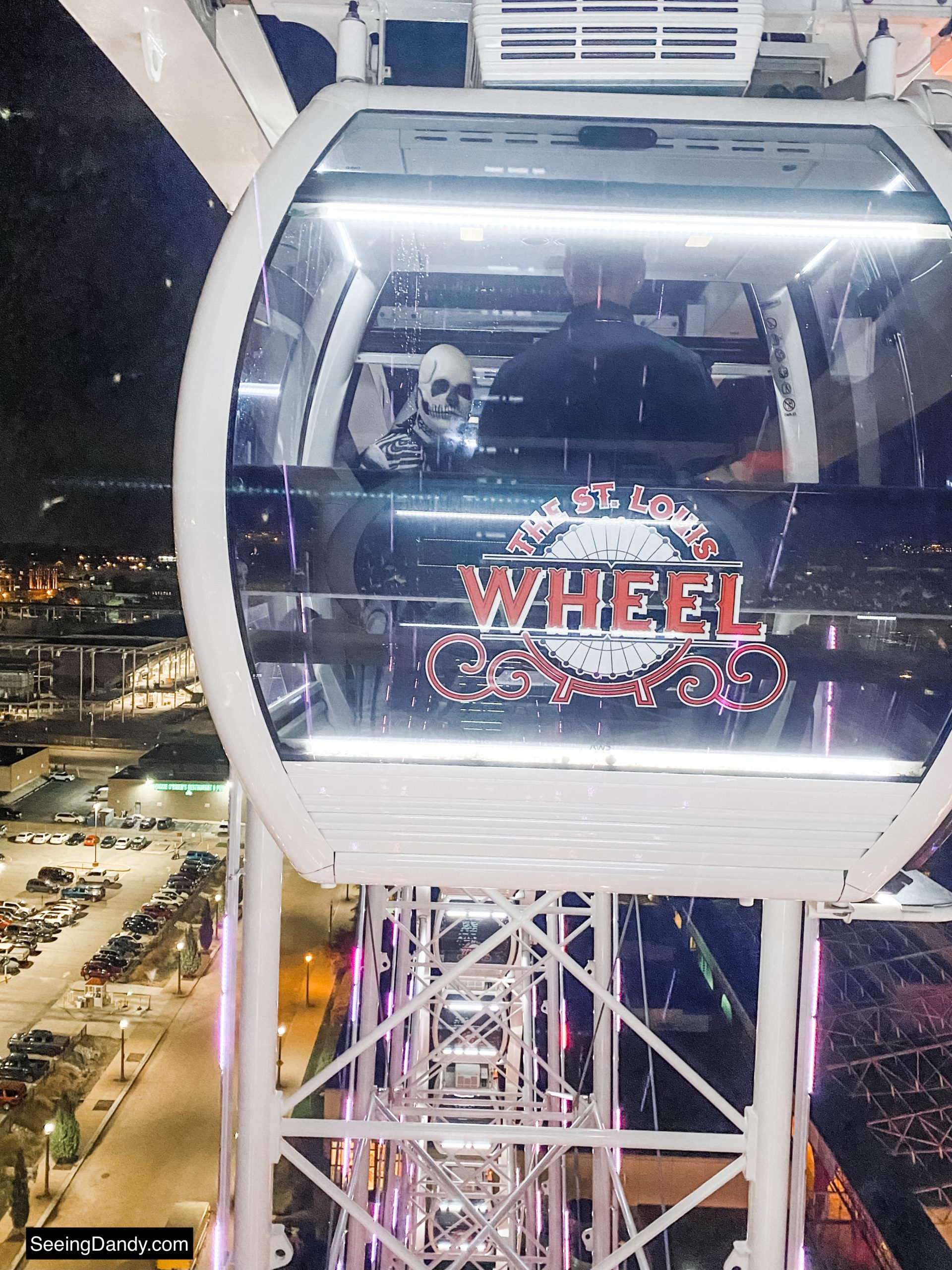 skeleton riding on the st. louis wheel gondola